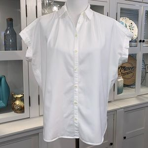 Madewell Central Drapey Shirt in Pure White Sz Sm